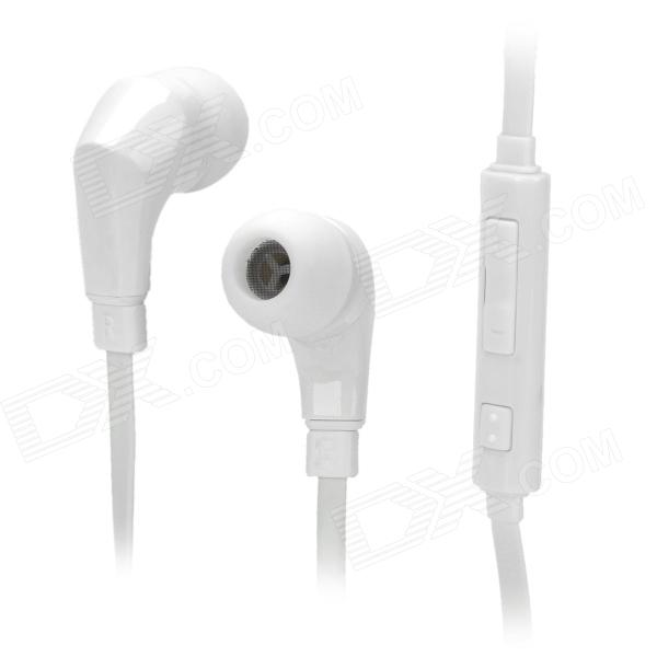 WallyTech WHF-119 Flat Cable In-Ear Earphones w/ Mic for Samsung / HTC - White (3.5mm Plug / 120cm)