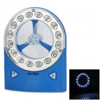 Portable 16-LED White Table Light Mini 3-Blade Fan - Blue + White (3 x AA)