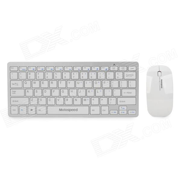Motospeed G9000 2.4G Wireless 78-Key Keyboard w/ Silicone Cover + 1000dpi Mouse Set - White