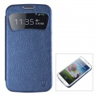 USAMSS4XK03 PU Leather Case Cover w/ Caller ID Window for Samsung Galaxy S4 i9500 - Dark Blue