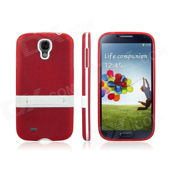ENKAY Protective Soft TPU + Hard Plastic Back Case Stand for Samsung Galaxy S4 i9500 - Red enkay protective soft tpu back case w stand for samsung galaxy s4 mini i9190 pink