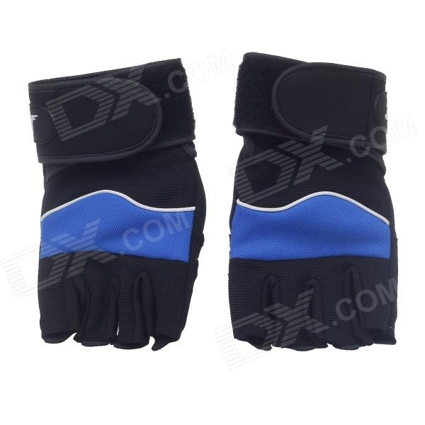 XinLuMing XLY209 Professional Anti-Skid Fitness Half-Finger Gym Gloves -Blue + Black (Size-L / Pair)