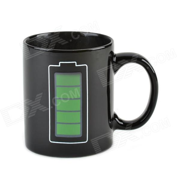 Battery Power Consumption Thermochromic Ceramic Cup - Black (200mL)