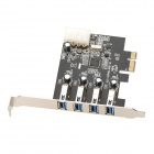 ULANSON ULS-U3P4N-4PB-I External 4-Port USB 3.0 PCI-Express Expansion Card w/ 4-Pin Power Interface