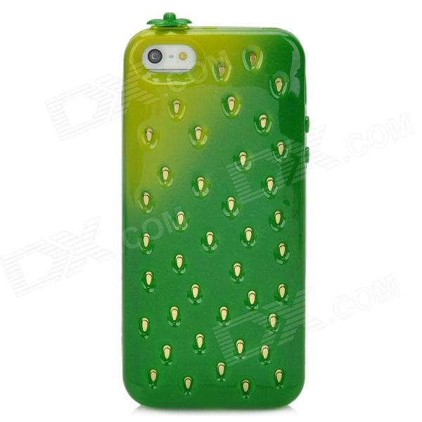 Cute Strawberry Style Protective TPU Back Case for Iphone 5 - Green