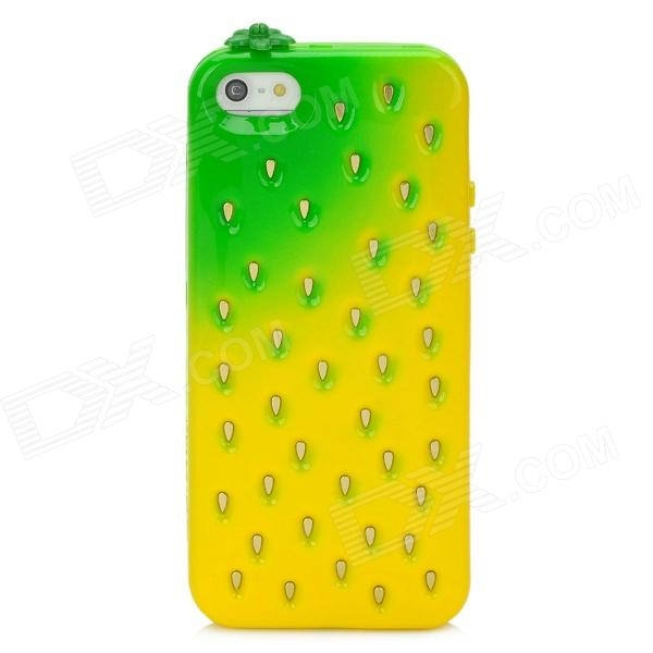 Cute Strawberry Style Protective TPU Back Case for Iphone 5 - Yellow + Green holes pattern protective tpu back case for iphone 6 plus 5 5 yellow