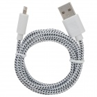 USB-zu-8-Pin Blitz Data / Laden Nylon Gewebe-Kabel für iPhone 5 / iPad 4 / Mini - White + Black