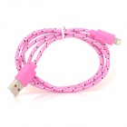 USB-zu-8-Pin Blitz Data / Laden Nylon Gewebe-Kabel für iPhone 5 / iPad 4 / Mini - Pink