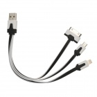 USB Male to 30-Pin / Lightning 8-Pin / Micro USB Male Data Cable for iPhone 4 / 4S / 5 - White