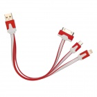 USB Male to 30-Pin / Lightning 8-Pin / Micro USB Male Data Cable for iPhone 4 / 4S / 5 - Red