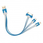 USB Male to 30-Pin / Lightning 8-Pin / Micro USB Male Flat Cable for iPhone 4 / 4S / 5 - Blue