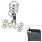 Cartoon Bone Style Rhinestone Audio Jack Anti-Dust Plug for iPhone 4 / 4S - Silver (3.5MM Plug)