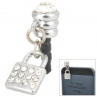 Stylish Lock Style Rhinestone Audio Jack Anti-Dust Plug for iPhone 4 / 4S - Silver (3.5MM Plug)
