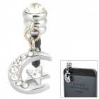 Moon & Star Style Rhinestone Audio Jack Anti-Dust Plug for iPhone 4 / 4S - Silver (3.5MM Plug)