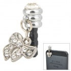 Stylish Bowknot Style Rhinestone Audio Jack Anti-Dust Plug for iPhone 4 / 4S - Silver (3.5MM Plug)