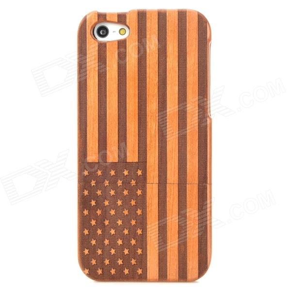 Walnut Wooden American Flag Pattern Protective Back Case for Iphone 5 - Brown