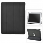 Protective 4-Folding PU Leather + TPU Case for iPad 3/4 - Black