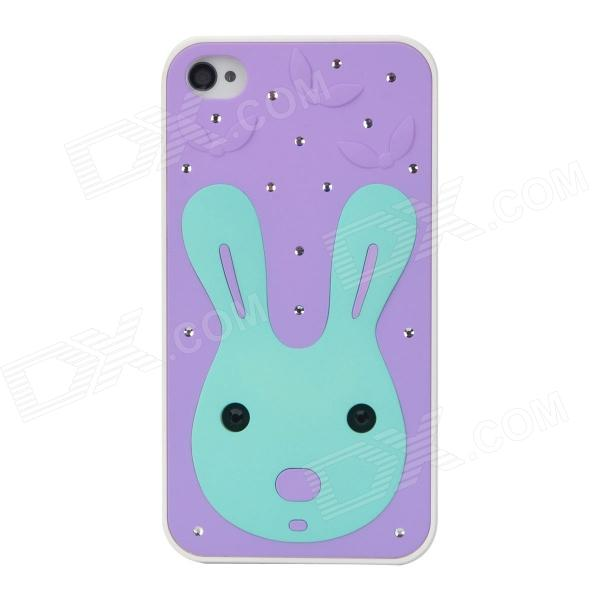 Cute Cartoon Bunny Pattern Protective Plastic Back Case w/ Inlaid Crystal for Iphone 4S / 4 - Purple angibabe 0 3mm plaid pattern protective tpu back case for iphone 4 4s purple transparent