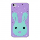 Cute Cartoon Bunny Pattern Protective Plastic Back Case w/ Inlaid Crystal for Iphone 4S / 4 - Purple