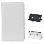 Stylish Litchi Pattern Flip-open Protective PU Leather Case w/ Holder for Nokia 925 - White