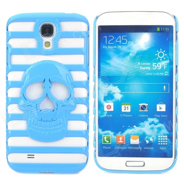 Stylish Skull Pattern Hollowed Plastic Protective Back Case for Samsung Galaxy S4 i9500 - Blue protective cute spots pattern back case for samsung galaxy s4 i9500 multicolored