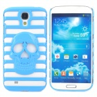 Stylish Skull Pattern Hollowed Plastic Protective Back Case for Samsung Galaxy S4 i9500 - Blue