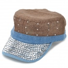 Women's Rhinestone Studded Flat-top Leisure Cap Hat - Brown + Blue