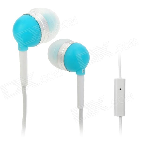 Wallytech WHF-065 In-Ear Earphone for Iphone / Ipad / Ipod / Samsung / HTC - Light Blue + White