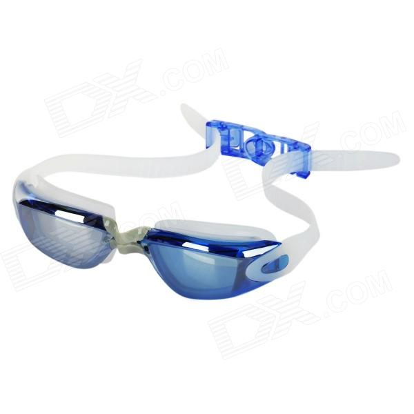 G2360 Anti-UV ABS + PC Swimming Goggles / Glasses w/ Waterproof Earplugs - Blue + White