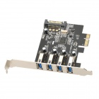 ULANSON ULS-U3P4N-4PB-S External 4-Port USB 3.0 PCI-Express Expansion Card w/ 15-Pin SATA