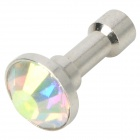 Shining Rhinestone 3.5mm Dust Plug for Mobile Phones - Silver White