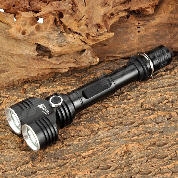 UltraFire JS-8052 1500lm 5-Mode White Flashlight w/ 2 x CREE XM-L U2 - Black (2 x 18650) ultrafire lzz 1 600lm 4 mode white bicycle headlamp w cree xm l u2 black golden 4 x 18650