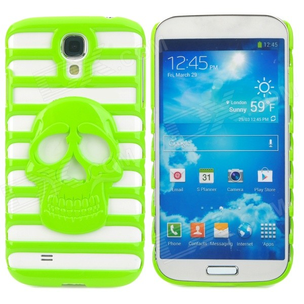Stylish Skull Pattern Hollowed Plastic Protective Back Case for Samsung Galaxy S4 i9500 - Green protective cute spots pattern back case for samsung galaxy s4 i9500 multicolored