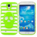 Stylish Skull Pattern Hollowed Plastic Protective Back Case for Samsung Galaxy S4 i9500 - Green