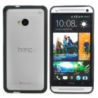 Stylish Protective Frosted Plastic Back Case for HTC ONE (M7) - Black + Translucent