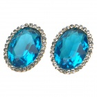 KCCHSTAR Oval Style 18K Zinc Alloy + Artificial Crystal + Rhinestone Earrings - Blue + Champagne