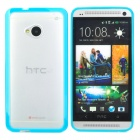 Stylish Protective Frosted Plastic Back Case for HTC ONE (M7) - Blue + Translucent