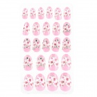 Shiny Crystal 3D Heart Decorative Nail Tip w/ Glue - Multicolor (24 PCS)