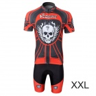 Veobike Men's Cycling Polyester Short Sleeve Coat + Shorts Suit - Black + Red + White (Size XXL)