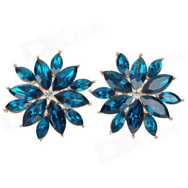 KCCHSTAR Stylish 18K+ Deep Blue Big Flower Crystal Earrings (Pair)Earrings<br>Quantity2Form  ColorGoldenMaterialZincGenderWomenSuitable forAdultsLength3.6Width3.6Packing List2 x Earrings<br>