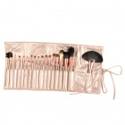 MEGAGA 1012 18-in-1 Portable Beauty Cosmetic Makeup Brush w/ Carrying Bag - Champagne