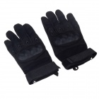 Stylish Tactical Protective Full-finger Gloves - Black (Pair / Size-XL)