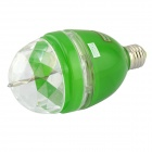 E27 3W 3-LED RGB Light Sound-Activated Rotating Stage Lamp Bulb - Transparent + Green (AC 85~260V)