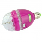 E27 3W 3-LED RGB Light Sound-Activated Rotating Stage Bulb - Transparent + Deep Pink (AC 85~260V)