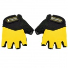 NUCKILY N2045 Outdoor Cycling Riding Half Finger Gloves w/ Protective Pad - Black + Yellow (Pair L)