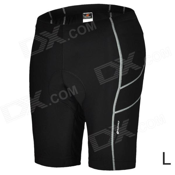NUCKILY NS351 Outdoor Sport Quick-drying Cycling Lycra Short Pants for Men - Black (Size L) arsuxeo ar608s quick drying cycling polyester jersey for men fluorescent green black l