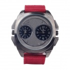 Super Speed ​​V0177 Stylish Men Double-Quarz Analog Armbanduhr - Maroon + Schwarz + Rot (1 x LR626)