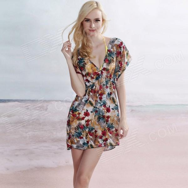 LC40496 Sexy Fashionable Deep V-Neck Beach Cover-up Dress for Women - Multicolored (Size-L)