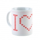 Cute loving Heart Style Thermochromic Ceramic Cup - White + Red (220mL)