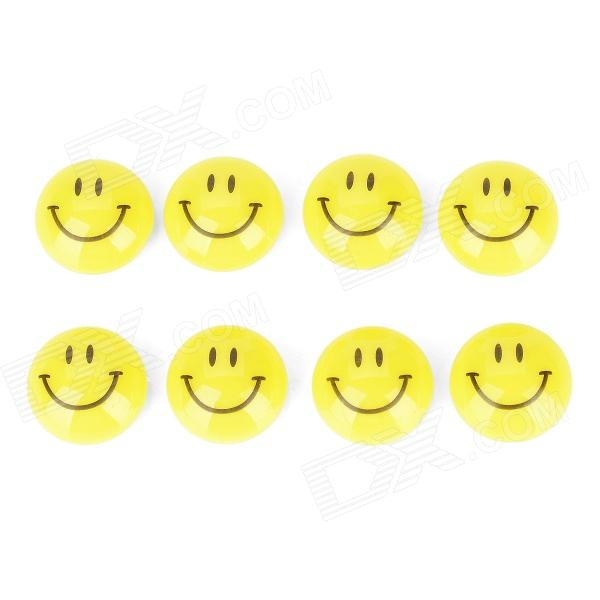 KAMEI KM-803-8 Round Shape Smile Face Refrigerator White Board Magnet - Yellow + Black (8 PCS) cute smile face expression round erasers yellow 4 piece random style